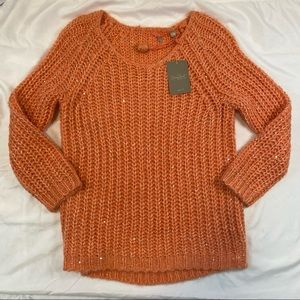Anthropologie Knitted & Knotted Sunstitch Swtr NWT